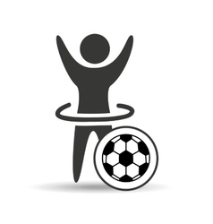 Happy man silhouette ball soccer sport icon flat vector