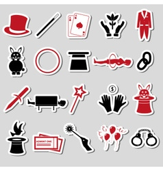 Magician and magic theme set of stickers eps10 vector