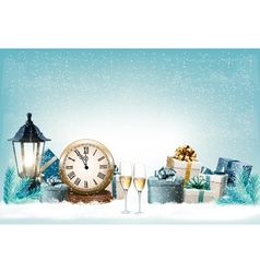 Holiday new years background with presents and vector