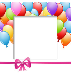 A frame with balloons and a ribbon vector