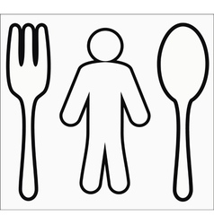 Spoon fork and human icon vector