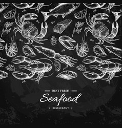 Seafood hand drawn  crab vector