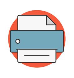 Printer flat line icon vector