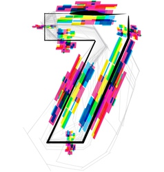 Colorful Number 7 vector image