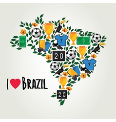 Brazil soccer summer world game flat design vector