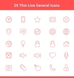 Set of thin line stroke general icons vector