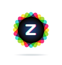 Retro bright colors logotype letter z vector