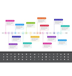 Modern flat timeline with rainbow colors and set vector