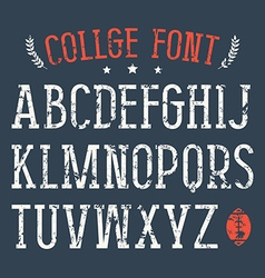 Serif font in college style vector