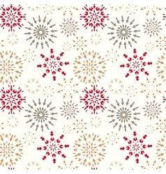 Christmas seamless pattern snowflakes red gold vector