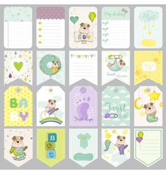 Baby Dog Tags Baby Banners Scrapbook Labels vector image
