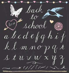 Rustic chalk back to school script lettering set vector