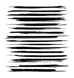 abstract thin black textured strokes big set vector image