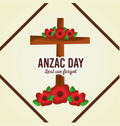 Anzac day lest we forget cross decoration floral vector