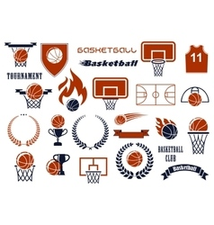Basketball game items for sport club team design vector