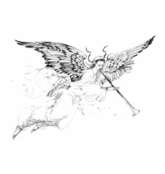 Beautiful angel with wings in white background vector