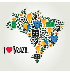 Brazil soccer summer world game flat design vector