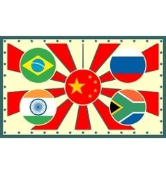 Brics members national flags on sun rays backdrop vector