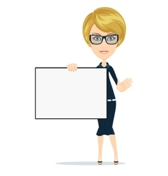 Business women holding big blank paper vector