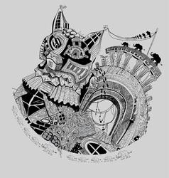 Cat city vector