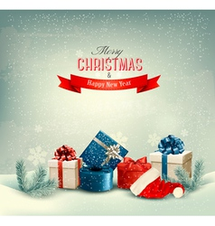 Christmas winter background with presents vector