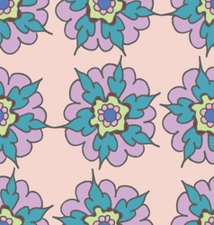 Colorful hand drawn seamless pattern with flowers vector