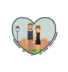 Colorful of couple cartoon inside heart design vector
