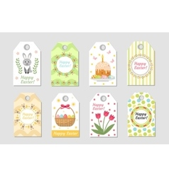 Cute easter tags set labels collection with vector