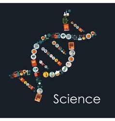 Dna icon shape with symbols of science vector