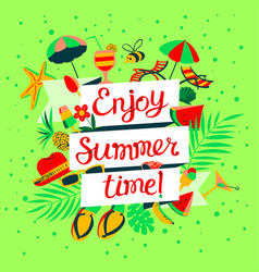 Enjoy summer time lettering beach holidays banner vector