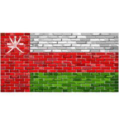 Flag of oman on a brick wall vector