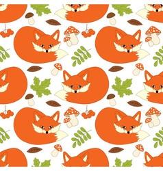 Fox seamless pattern vector