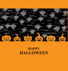halloween greeting pumpkins card vector image