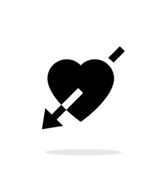 Heart with arrow icon on white background vector image