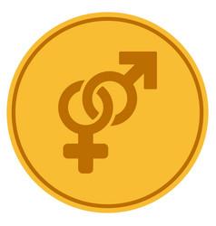 heterosexual symbol gold coin vector image