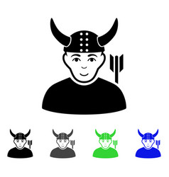 horned warrior flat icon vector image vector image