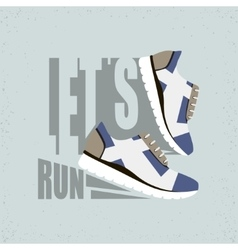 Lets run flat Running shoes vector image