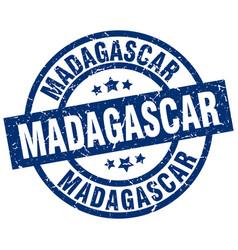 Madagascar blue round grunge stamp vector
