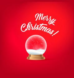 merry christmas snow globe ball chrismas object vector image