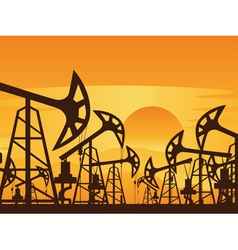 Oil Pump at Sunset3 vector image