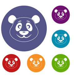Panda icons set vector