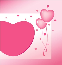 Pink heart balloon design for valentines day vector image vector image