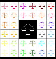 Scales balance sign felt-pen 33 colorful vector