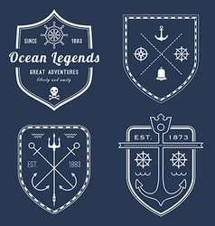 Set of nautical logos badges and labels on vector