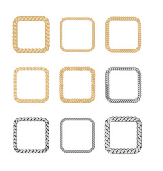 Set of rope frame in marine style vector