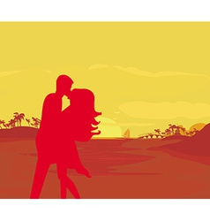 silhouette couple kissing on tropical beach vector image vector image