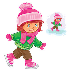 small girl ice skating vector image vector image