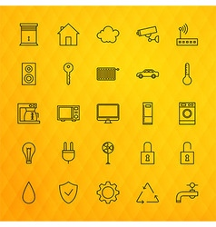 Smart house technology line icons set over vector