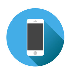 Smartphone icon on blue background with shadow vector