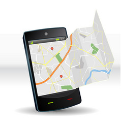Street map on smartphone mobile device vector